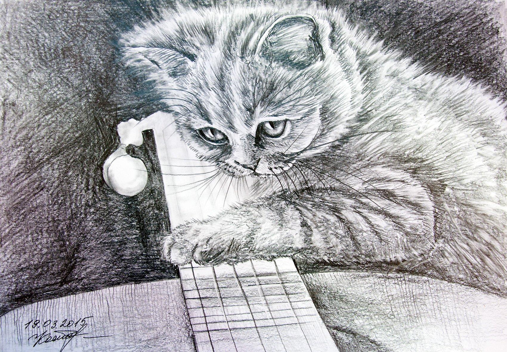A Kitten with a Guitar original cat watercolor pencil drawing