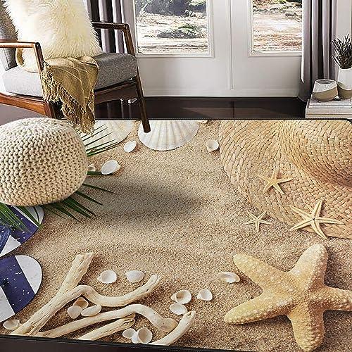 ALAZA Sandbeach Starfish Shell Tropical Area Rug Rugs for Living Room Bedroom 5 3 x4