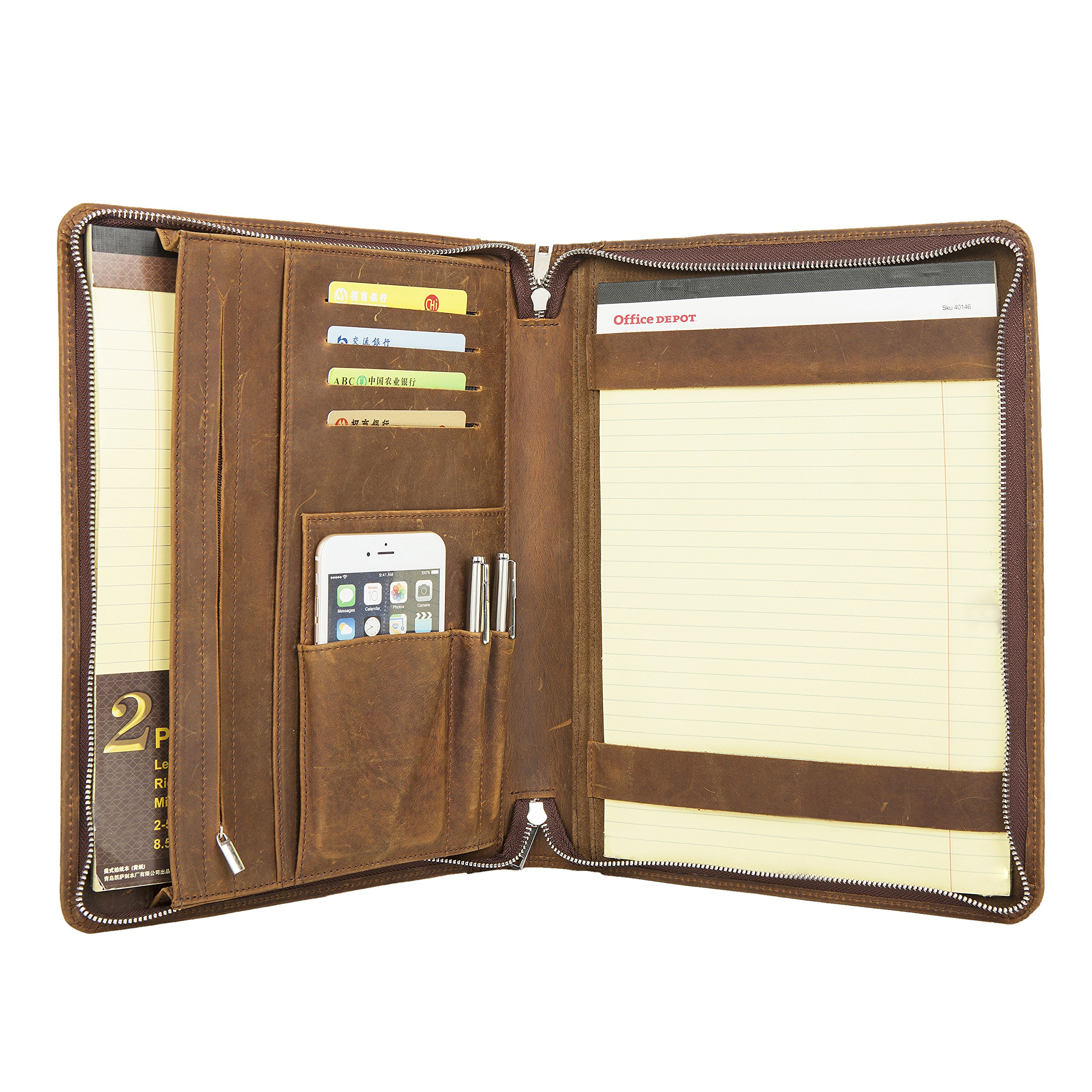 Coface Professional Padfolio Business Organizer Portfolio,Executive Binder, Document Holder, Case With Broadside Zipper,Engraved Custom Monogrammed,By Crazy-Horse Leather for iPad/surface book