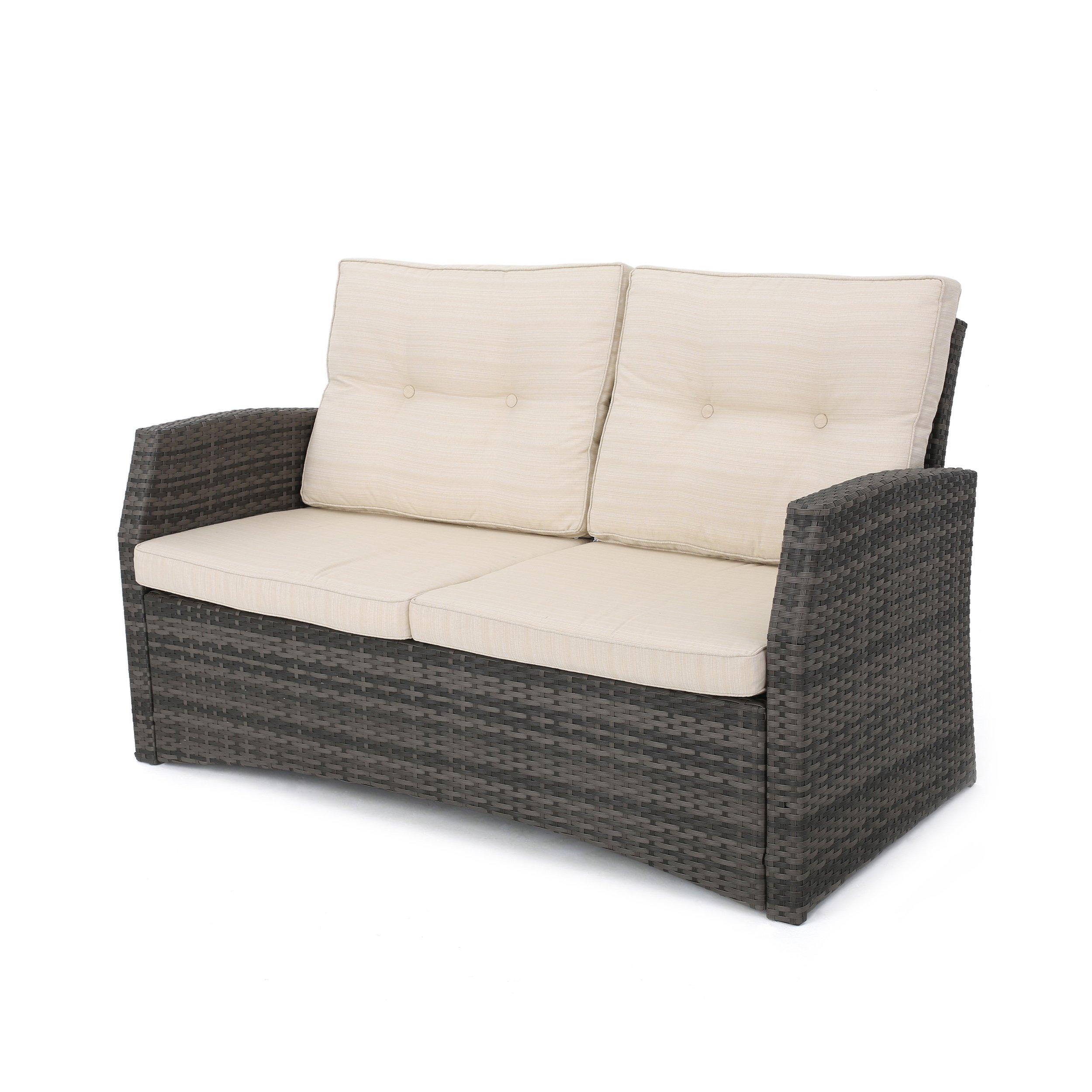 Great Deal Furniture Baldick Outdoor Wicker Loveseat, Gray