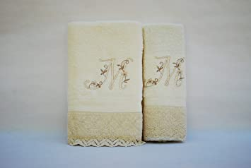 Juego de 3 toallas beije(100x150, 50x100, 50x30) LETRAS INICIALES BORDADAS, 100%algodón,, fabricado en Portugal.: Amazon.es: Hogar