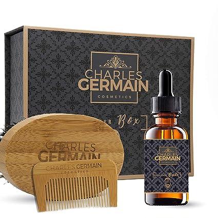Kit de algodón par Charles Germain Cosmetics, cepillo de la barba (cerdas de jabalí, ...