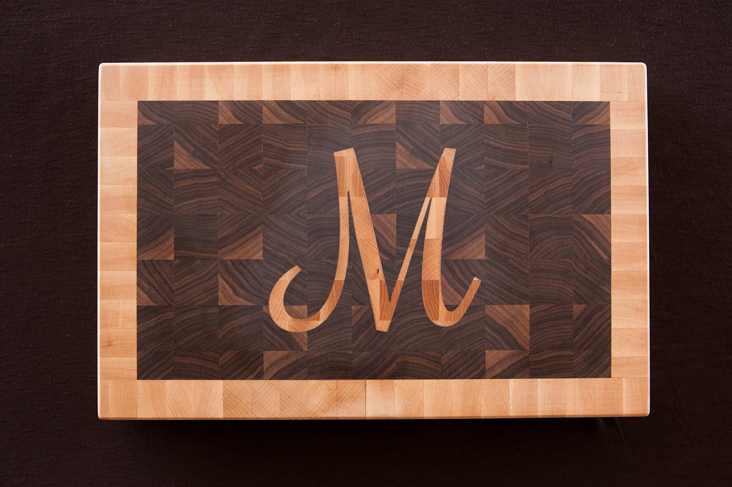 Chopping Blox Large end grain walnut cutting board with inlay custom letter. SIXM-WXX