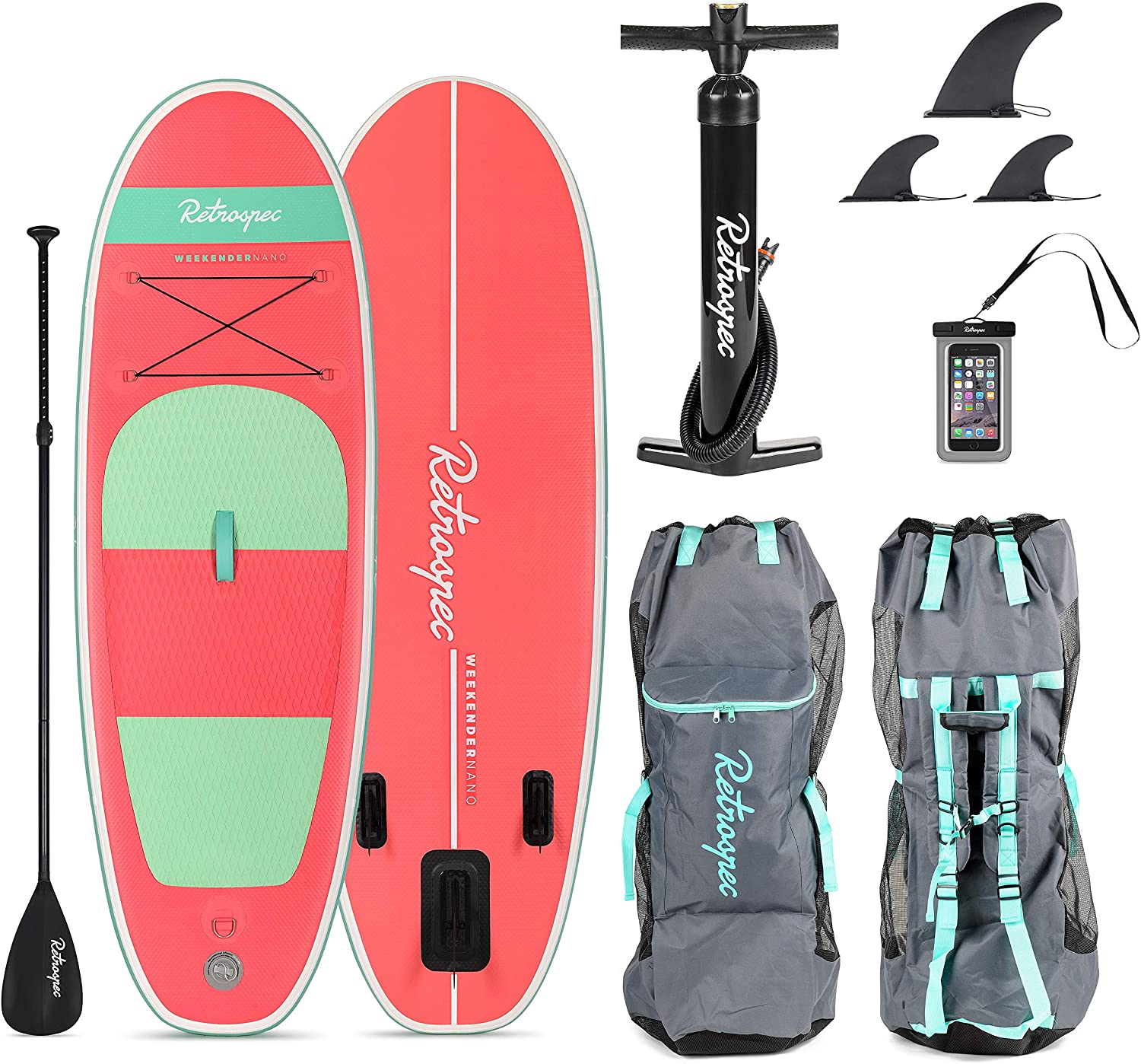 Retrospec Weekender-Nano 8ft. Inflatable Stand Up Paddleboard Triple Layer Military Grade PVC iSUP Bundle w paddle board carrying case, aluminum paddle, removable nylon fins, pump cell phone case