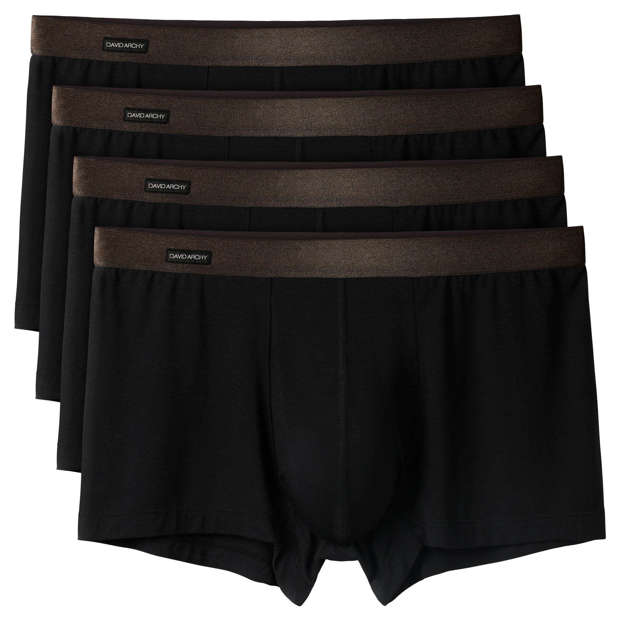 David Archy Men's 4 Pack Breathable Bamboo Fiber Trunks(M,Black-Bamboo)