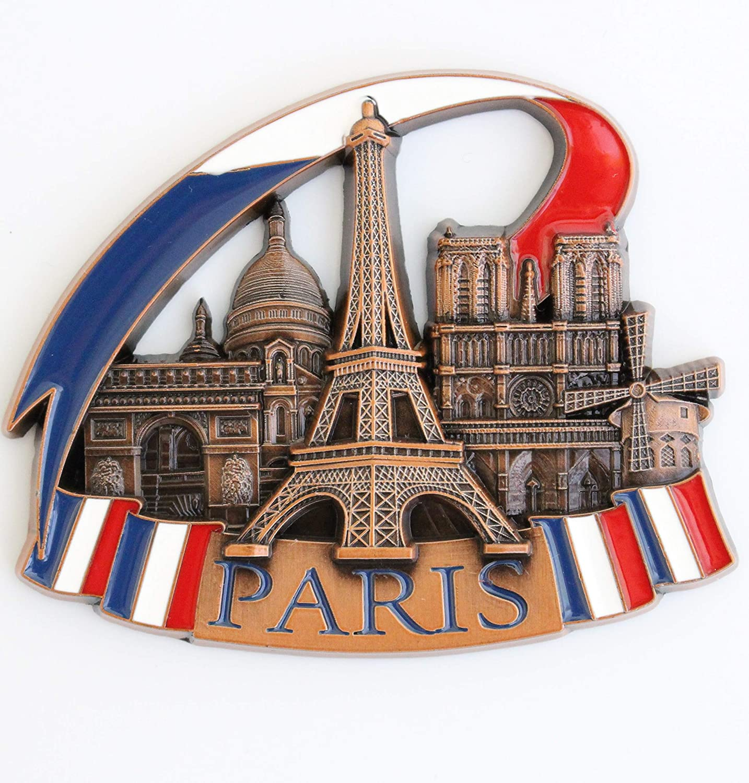 France Paris Metal Fridge Magnet Unique Design Home Kitchen Decorative Travel Holiday Souvenir Gift, Stick Up Your Lists Photos on Refrigerator