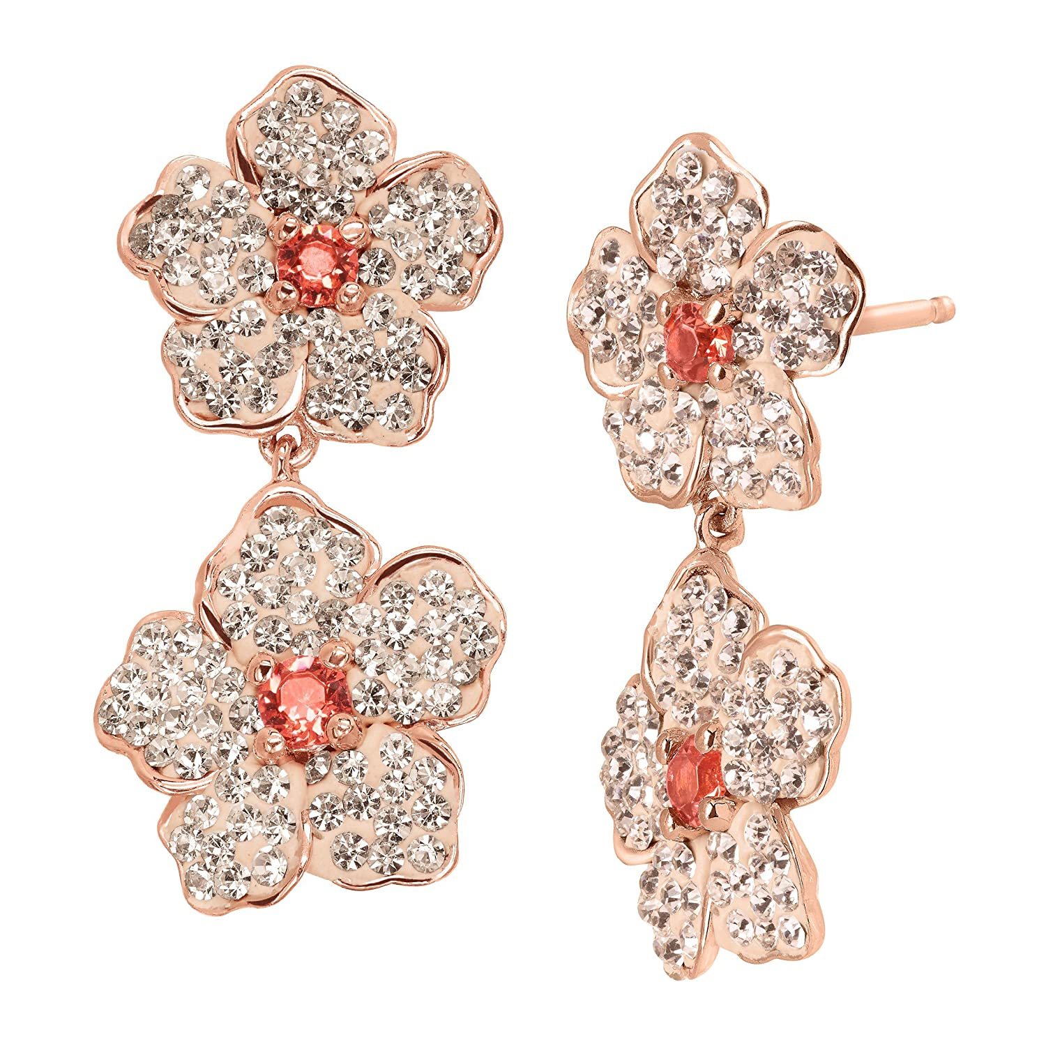 9d96fb031 Amazon.com: Crystaluxe Double Flower Drop Earrings with Pink Swarovski  Crystals in 18K Rose Gold-Plated Sterling Silver: Jewelry