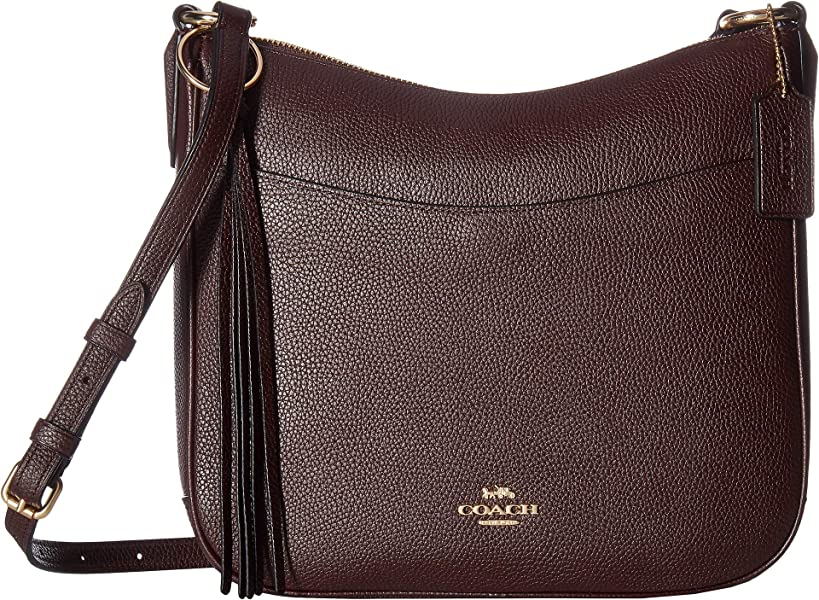 3ec59c7a714939 COACH Women's Polished Pebble Leather Chaise Crossbody Gold/Oxblood One Size