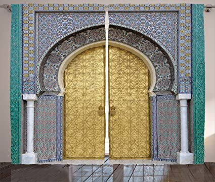 Ambesonne Moroccan Decor Curtains, Antique Doors, Morocco Gold Doorknob  Ornamental Carved Intricate Artistic, - Amazon.com: Ambesonne Moroccan Decor Curtains, Antique Doors