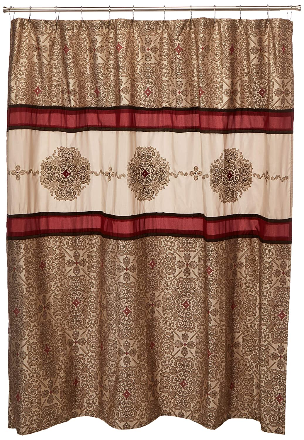 Madison Park Donovan Embroidered Shower Curtain Red 72x72