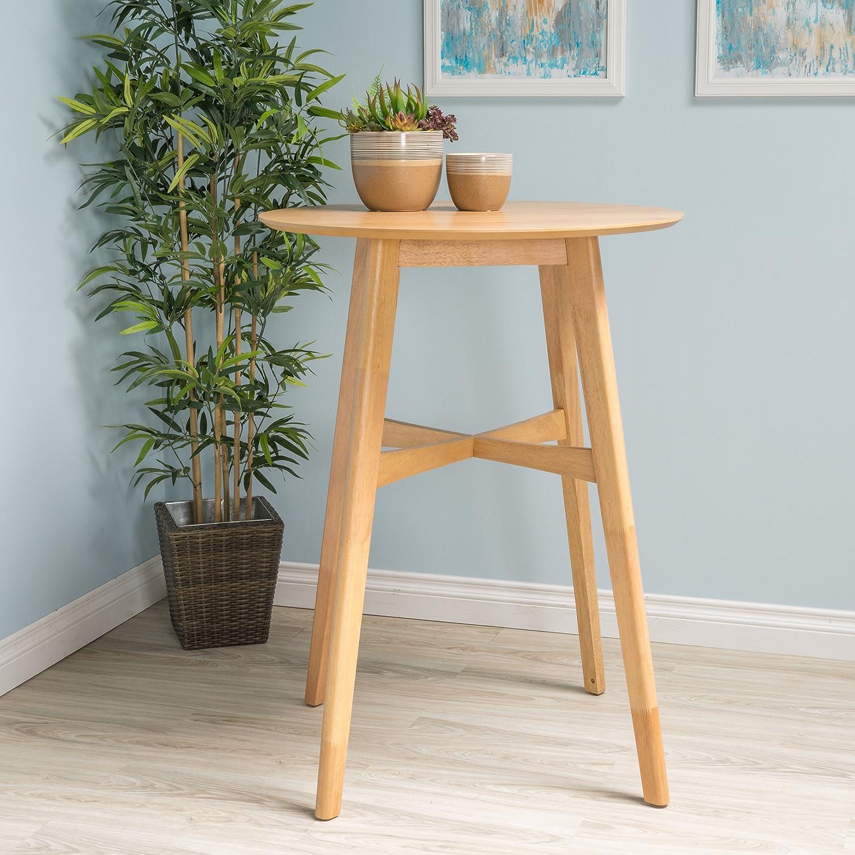 Amazon com madeline natural oak finish wood bar table kitchen dining