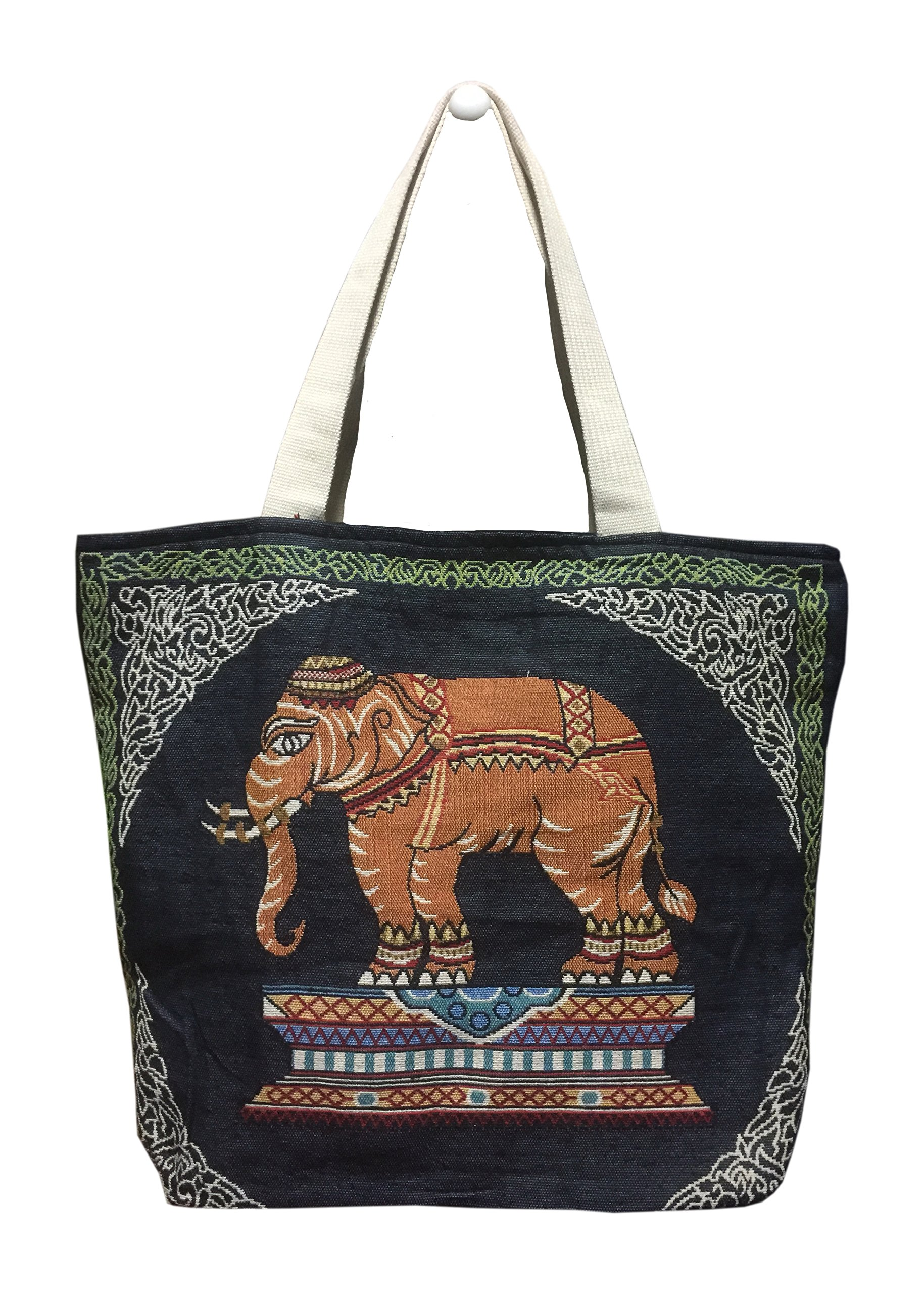 PJ Thai Design Cotton Handbag - Bag for Women Elephant Print, Personalized Shoping, Holiday, Beach (BLUE)