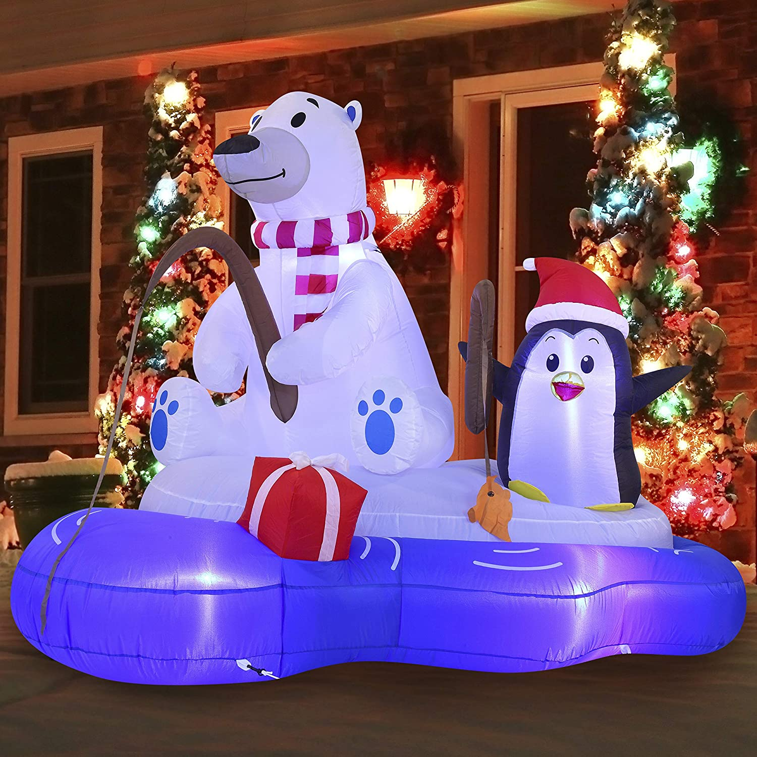 Joiedomi Christmas Inflatable Polar Bear Fishing with Penguin6 ft with Built-in LEDs Blow Up Inflatables for Christmas Party Indoor, Outdoor, Yard, Garden, Lawn Décor, Holiday Season Decorations