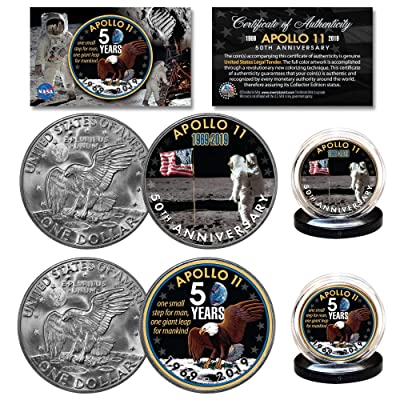 APOLLO 11 50th Anniversary Man on Moon Genuine Eisenhower Dollar NASA 2-Coin Set: Everything Else