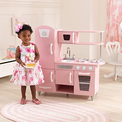 Amazon Com Kidkraft Vintage Kitchen Pink 53347 Toys Games