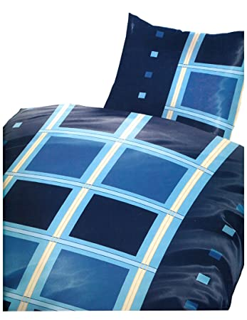 6 Teilige Mikrofaser Bettwäsche 135x200 Cm Kariert Blau Hellblau