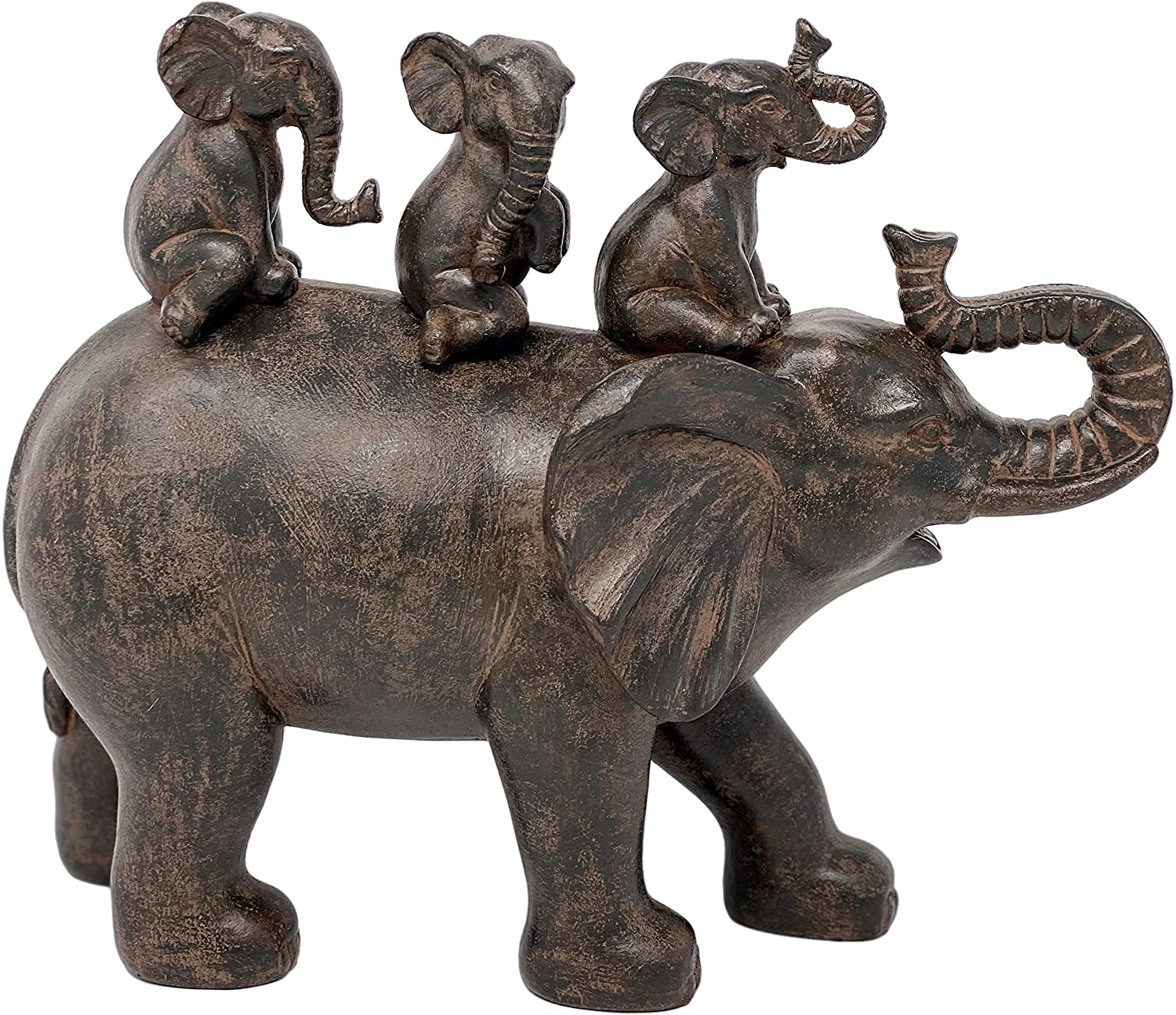 "Nature's Mark 10"" H 3 Baby Elephants Riding an Elephant Resin Statue Figurine Home Decorative Accent Decor"
