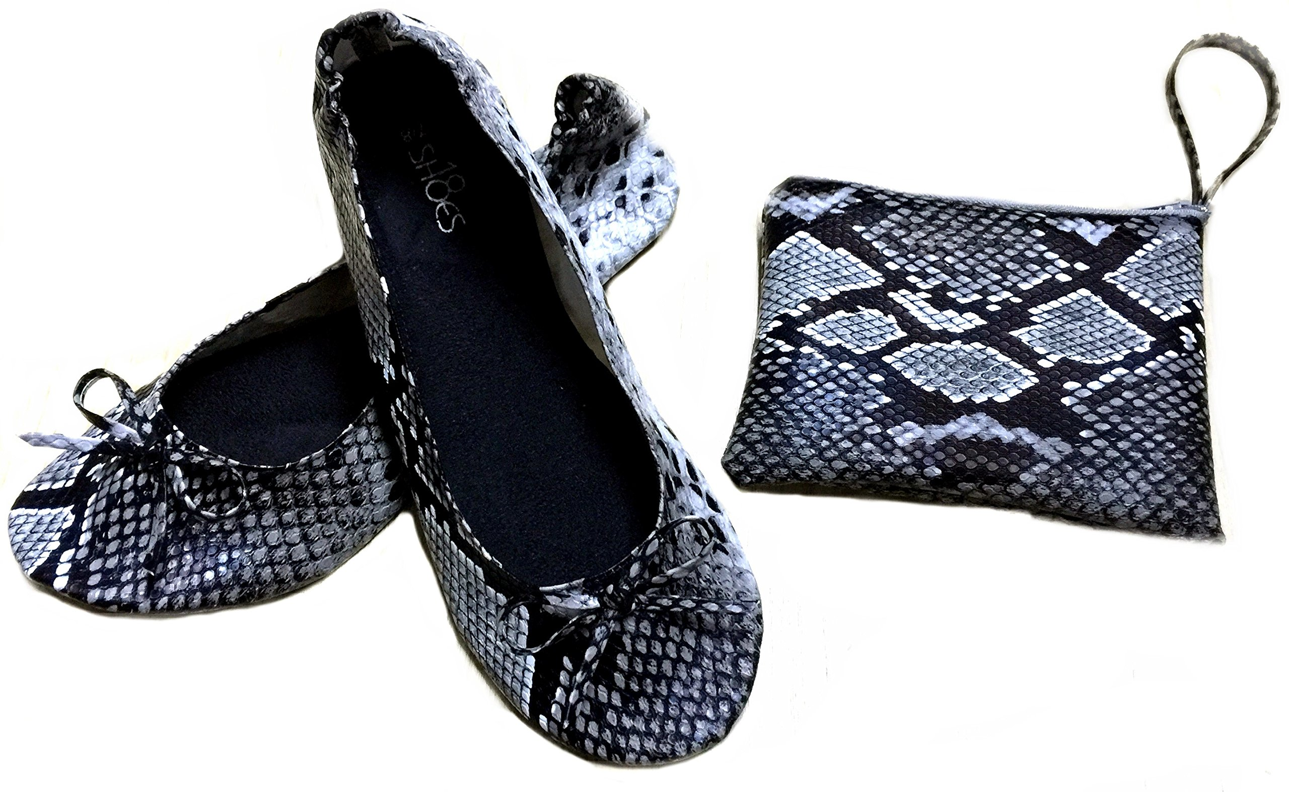 Shoes 18 Women's Foldable Portable Travel Ballet Flat Shoes w/ Matching Carrying Case (9/10 B(M) US, Snake Black)