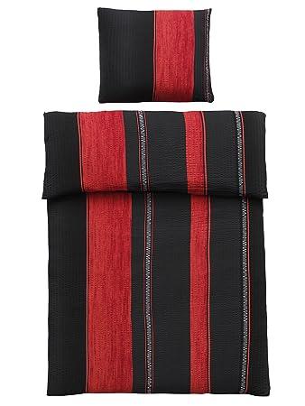 4 Teilig Microfaser Seersucker Bettwäsche Schwarz Rot Mit Reißverschluss 2x 135x200 Bettbezug 2x 80x80 Kissenbezug öko Tex Standart 100