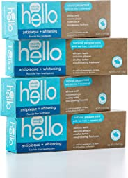 Hello Oral Care Fluoride Free Antiplaque & Whitening Toothpaste, Vegan & SLS Free, Natural Peppermint with Tea Tree Oil & Coc