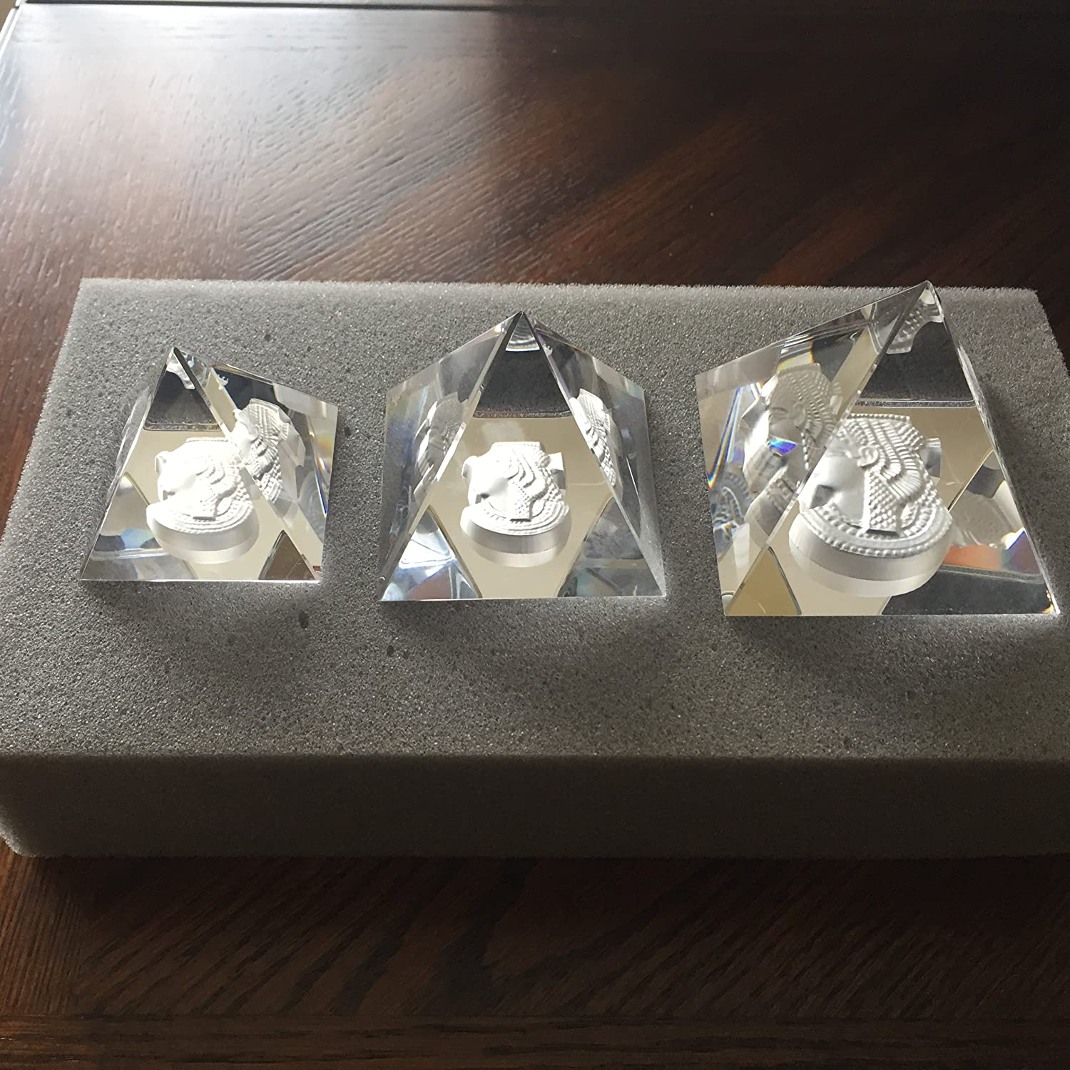 Decorative Authentic Crystal Egyptian Pyramids w/Engraved Queen Cleopatra