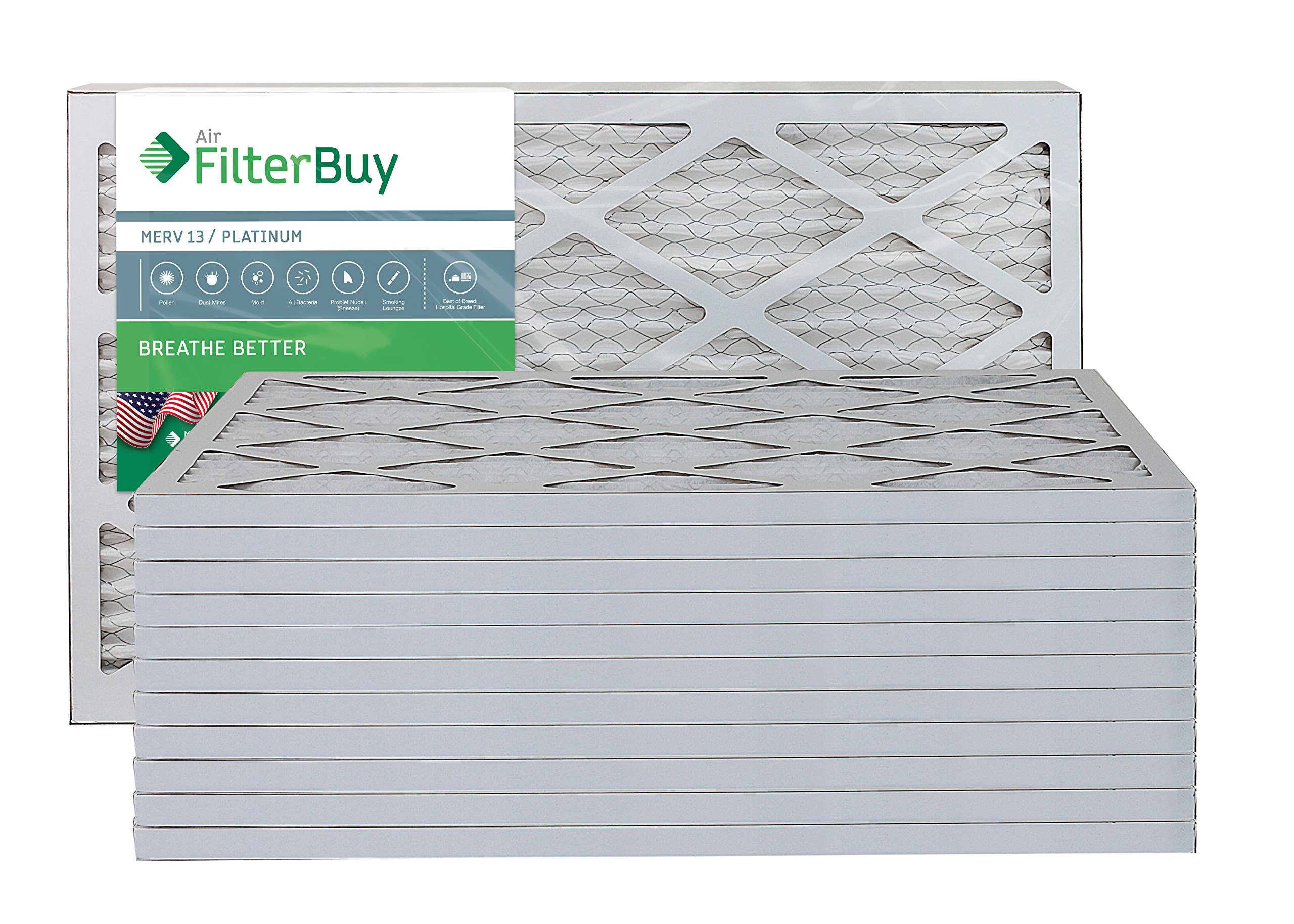 AFB Platinum MERV 13 16x20x1 Pleated AC Furnace Air Filter. Pack of 12 Filters. 100% produced in the USA.
