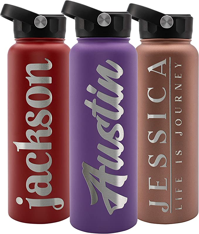 Personalized Water Bottle W Straw Lid Double Wall Insulated 40 Oz 12 Font Purple 9 Color Custom Water Bottle W Name And Text Bpa Free Non Sweat Vacuum Insulated Home Improvement