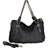 MG Collection VIKKI Large Black Ruched Chain Link Shopper Tote Convertible Shoulder Bag