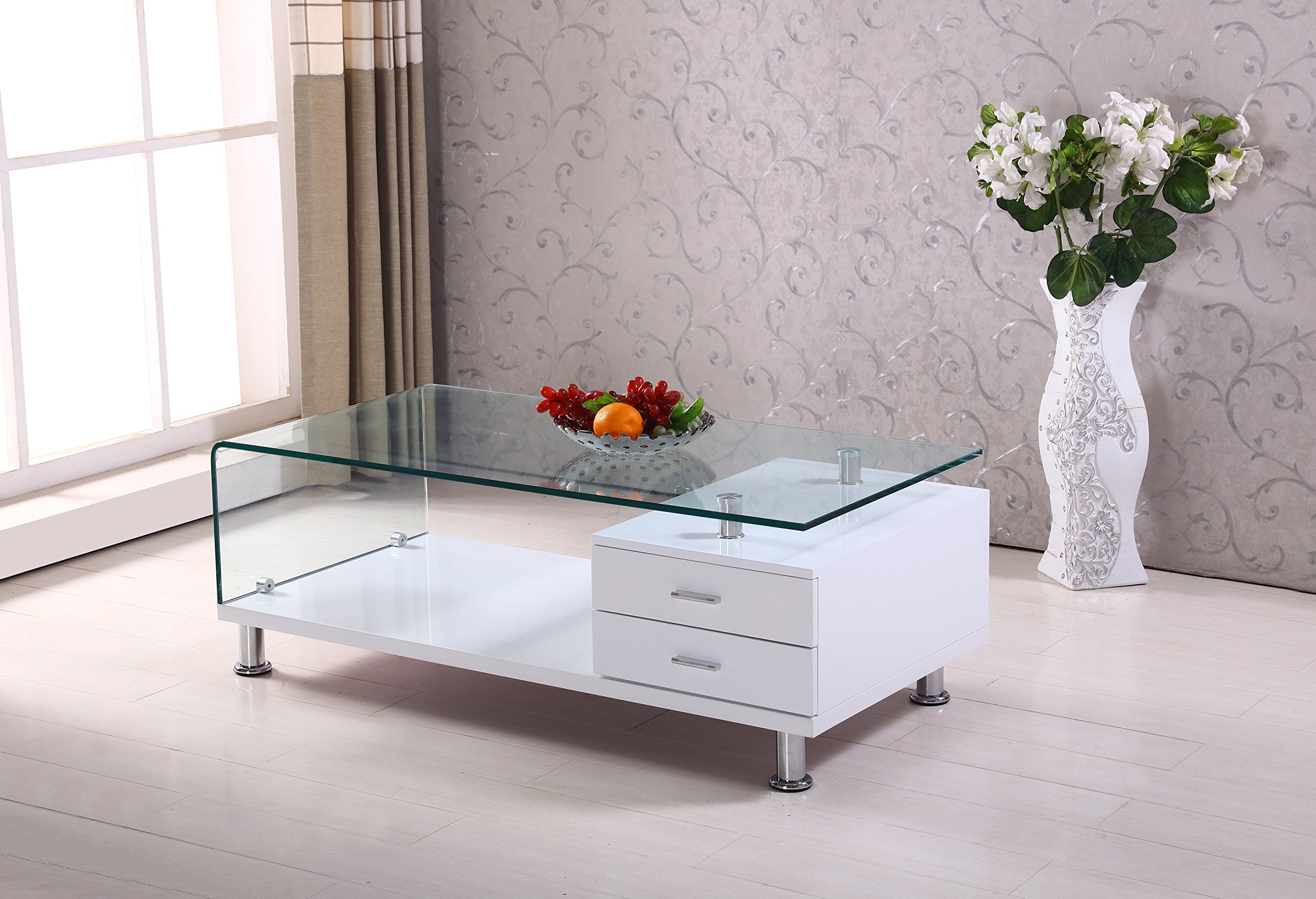 Best Quality Furniture CT105 Coffee Modern White Glass Coffe Table with Drawer by Best Quality