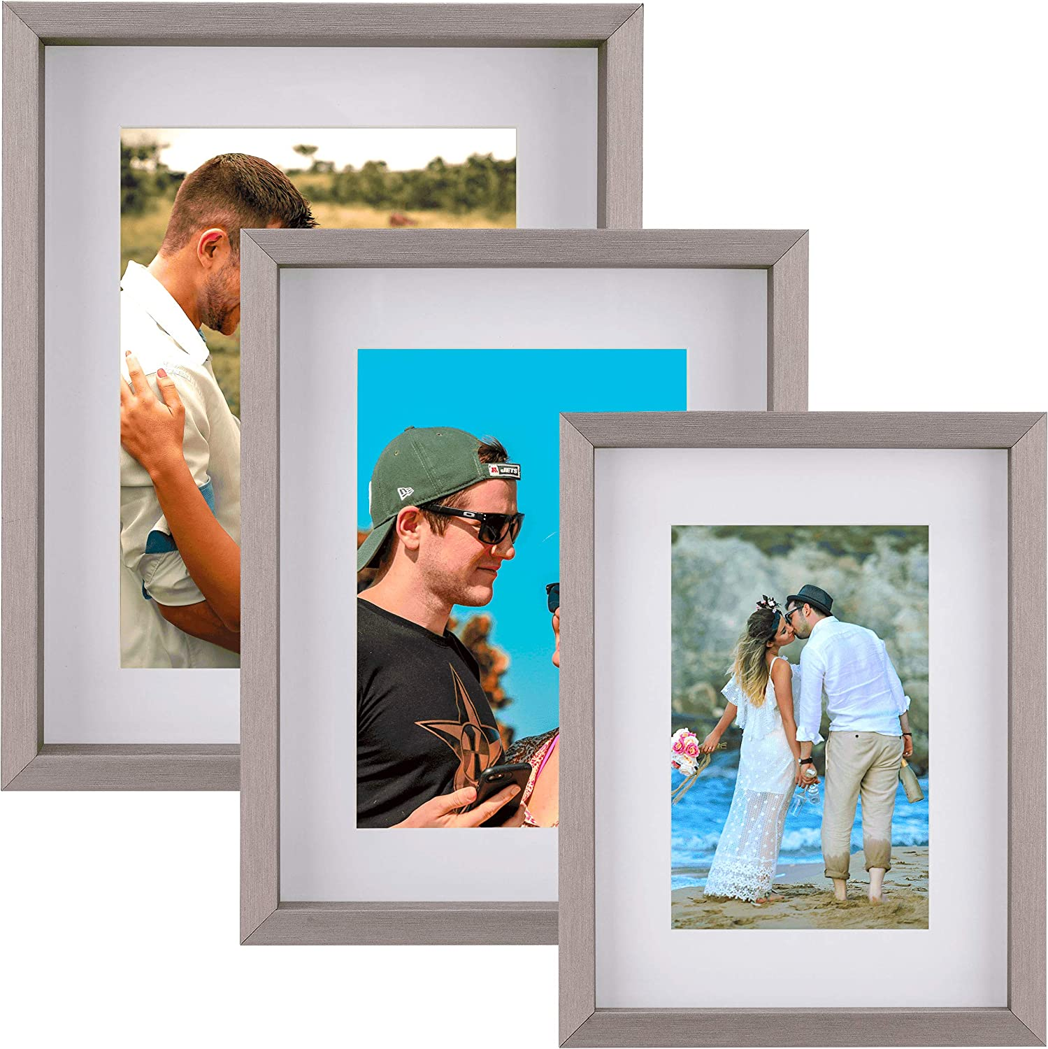 Picture Frames Metallic Silver Collage Set of 3 – Display Pictures 4x6, 5x7 & 6x8 with Mat or 6x8, 7x9 & 8x10 without Mat – Wood Tabletop & Wall Mount Photo Frames Set for Kitchen Gallery decor
