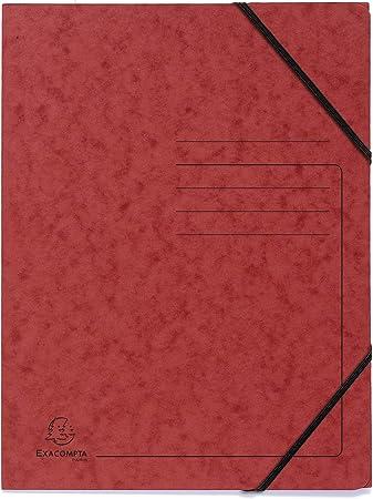 Exacompta 555410E Lot de 5 Chemises /à /élastique sans rabats avec impression de lignes sur la couverture pour identification des dossiers en carte lustr/ée 355gm2 A4 bleu jaune orange rouge et vert