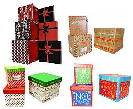 set of 4 alef elegant decorative holiday themed nesting gift boxes 3 nesting boxes per - Decorative Christmas Gift Boxes