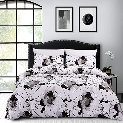 3Pcs Boho Abstract Printed Bedding Graffiti Comforter Set Queen Size