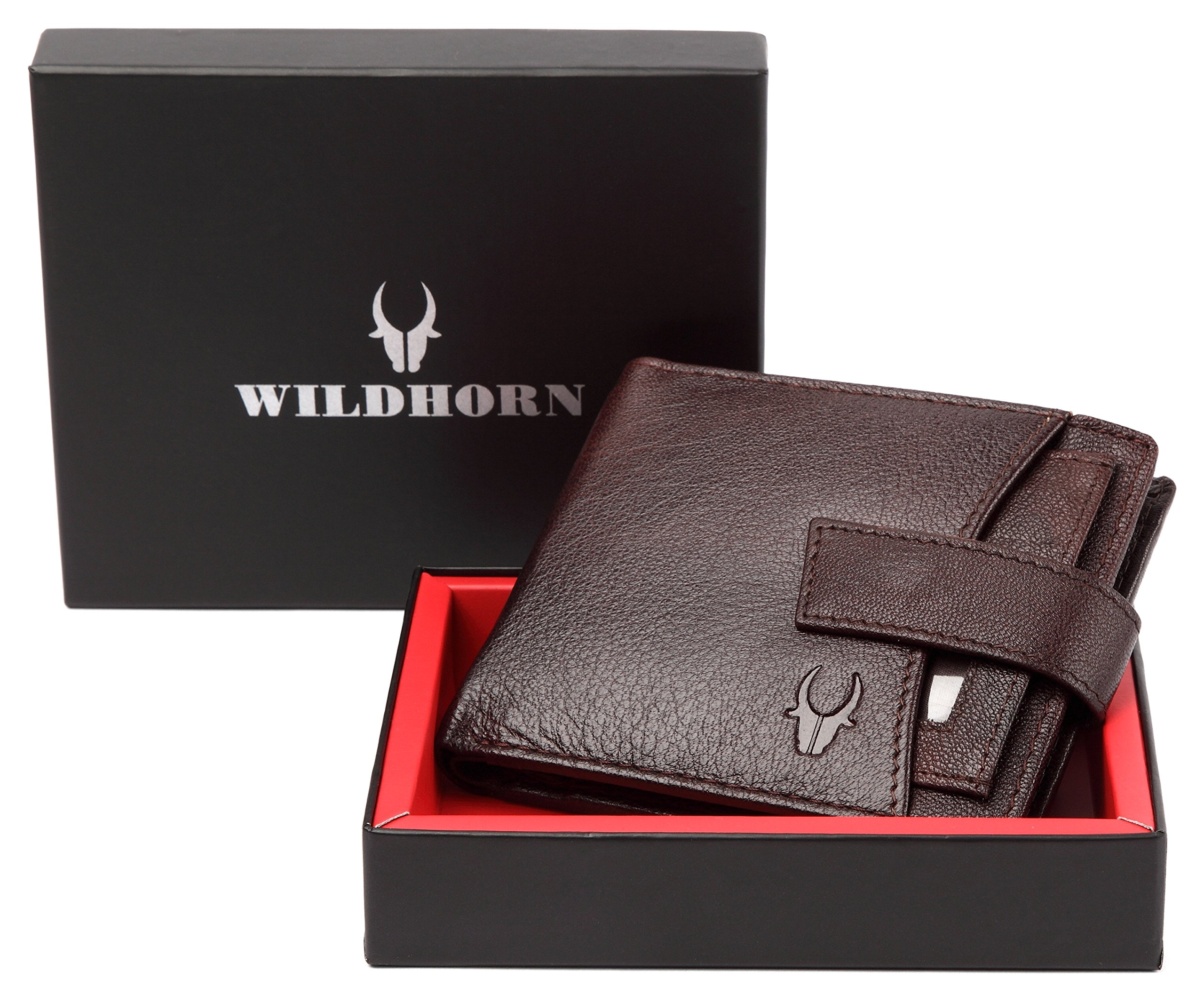 WildHorn® RFID Protected  Genuine High Quality Leather Wallet for Men(BROWN) product image
