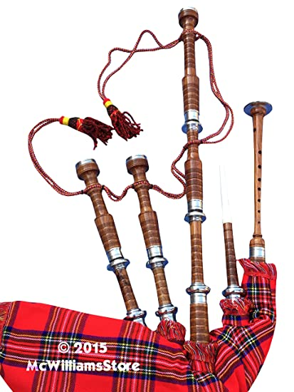 625a3204713e Amazon.com  McWilliams PROFESSIONAL SCOTTISH HIGHLAND BAGPIPE FNS MOUNTS  ROYAL STEWART TARTAN AND BAG  Musical Instruments