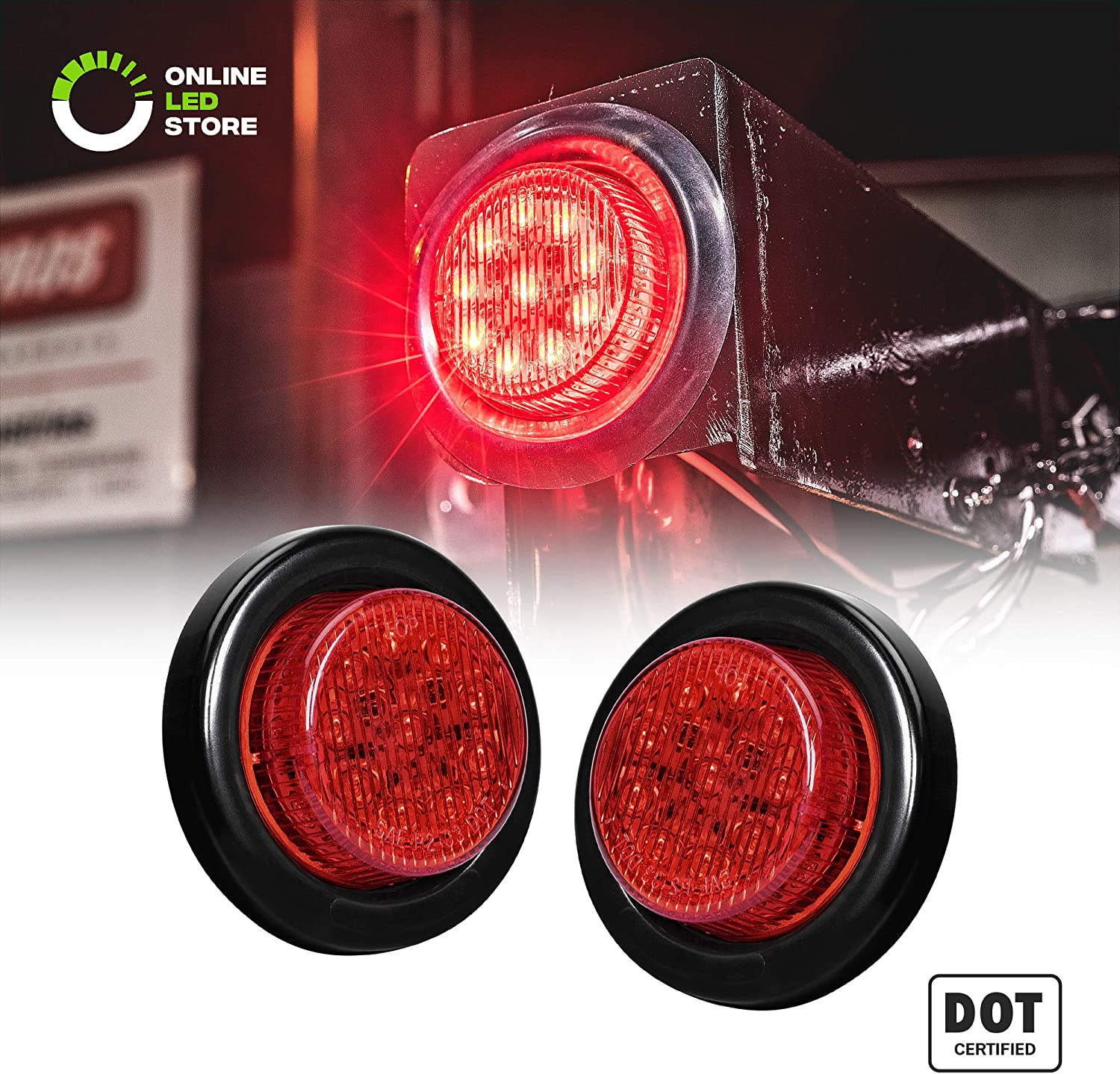 "B077T12Q72 2pc 2"" Red Round Trailer LED Marker Lights [DOT Approved] [Reflector Lens][10 LED] [Grommet] [Flush-Mount] [Waterproof IP67] Marker Lights for Trailer Truck 91Wctj7sqBL"