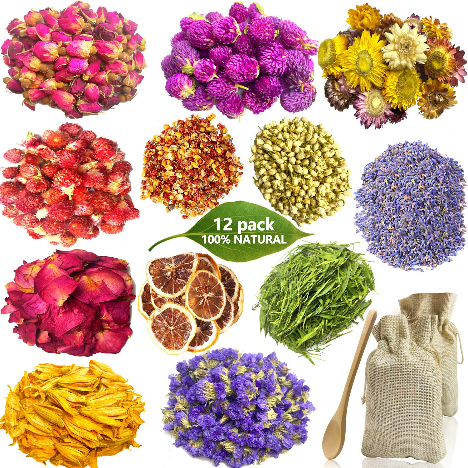 Dried Flowers for Soap Making, 12 Pack Natural Dried Flowers and Herbs Kit for Resin Candle Making Bath, Include Dried Lavender, Rose Petals, Rosebuds, Jasmine, Lemon Slice, Gomphrena Globosa and More