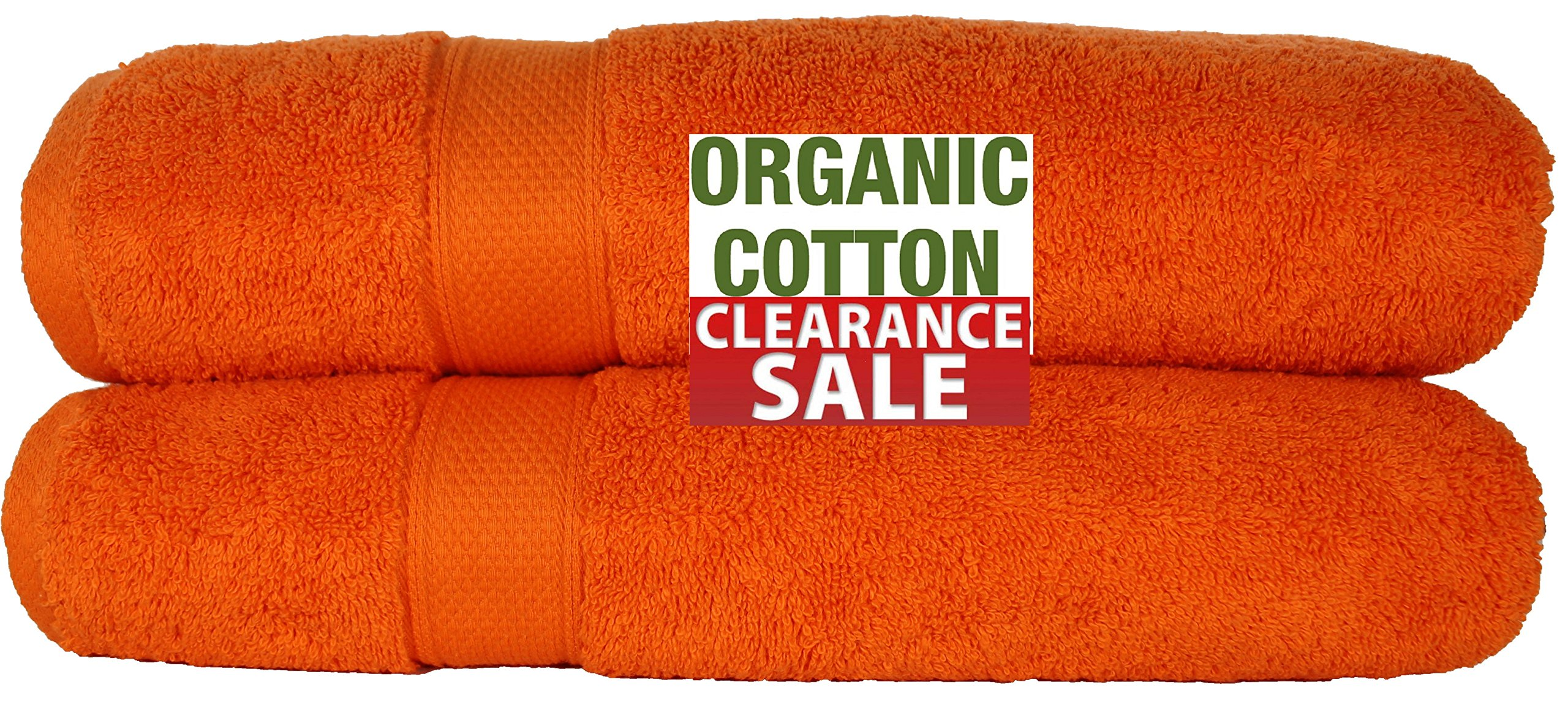 100 % Organic Turkish cotton, Antibacterial Premium Quality, Turkish Towels Super Soft, Plush Highly Absorbency,Everyday Use Quick dry.Long lasting 35 x 70-Inch (Bath Sheet- Set of 2 Tangerine Orange) by Aspendos Linen