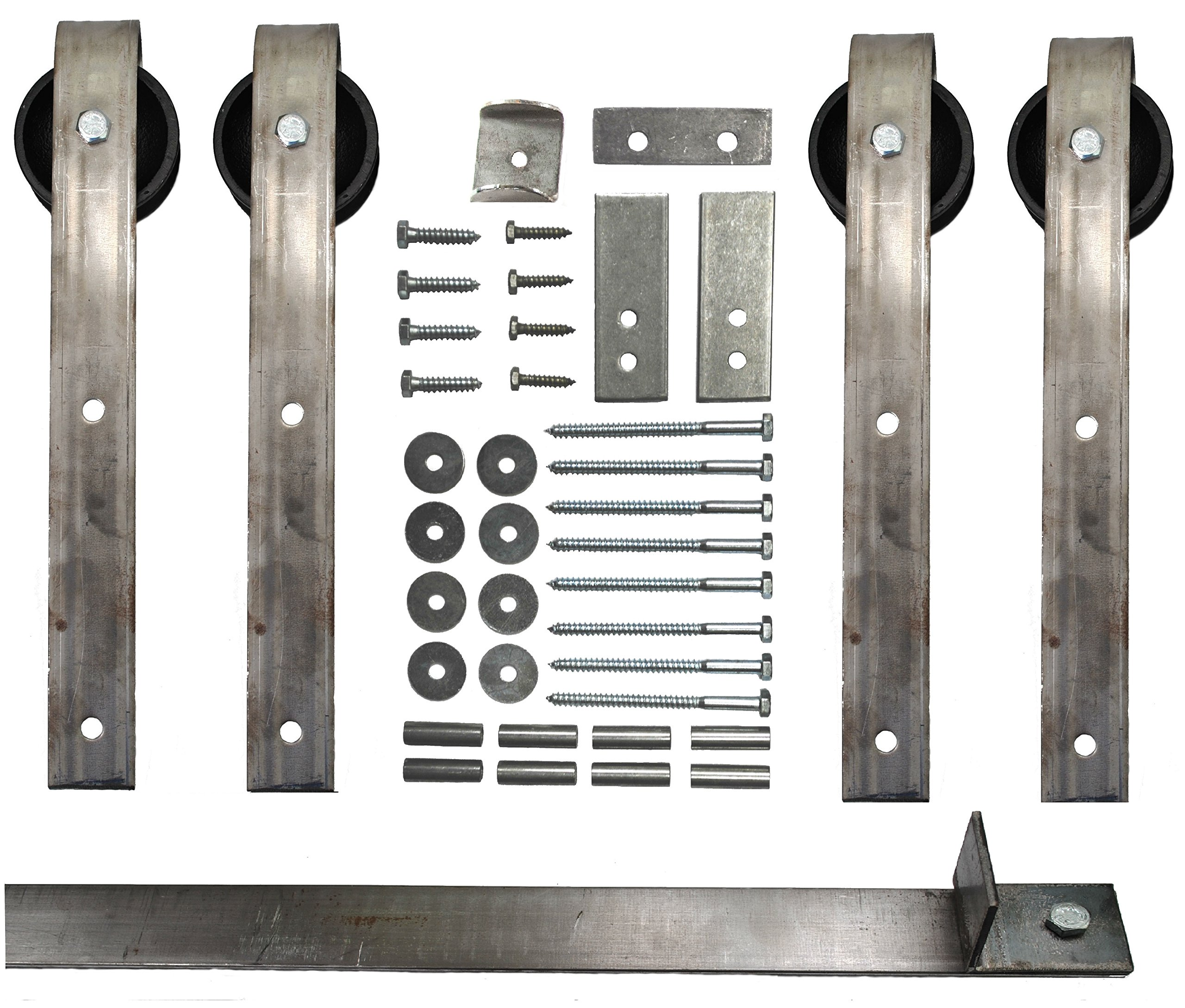Double Sliding Barn Door Hardware Kit with 8 Ft. Track Included - Made in USA
