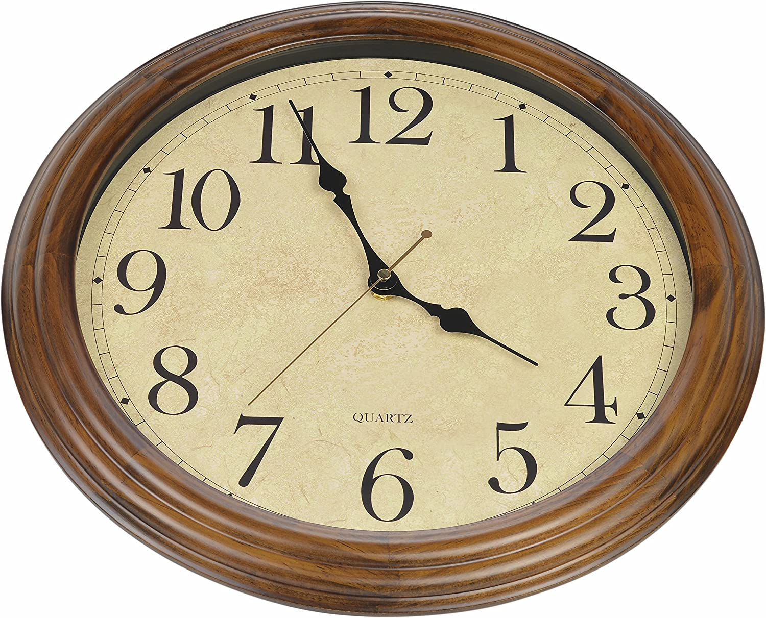 Old Oak 16 Inch Solid Wood Silent Non Ticking Decorative Wall Clock With Large Arabic Numerals Amazon Co Uk Kitchen Home