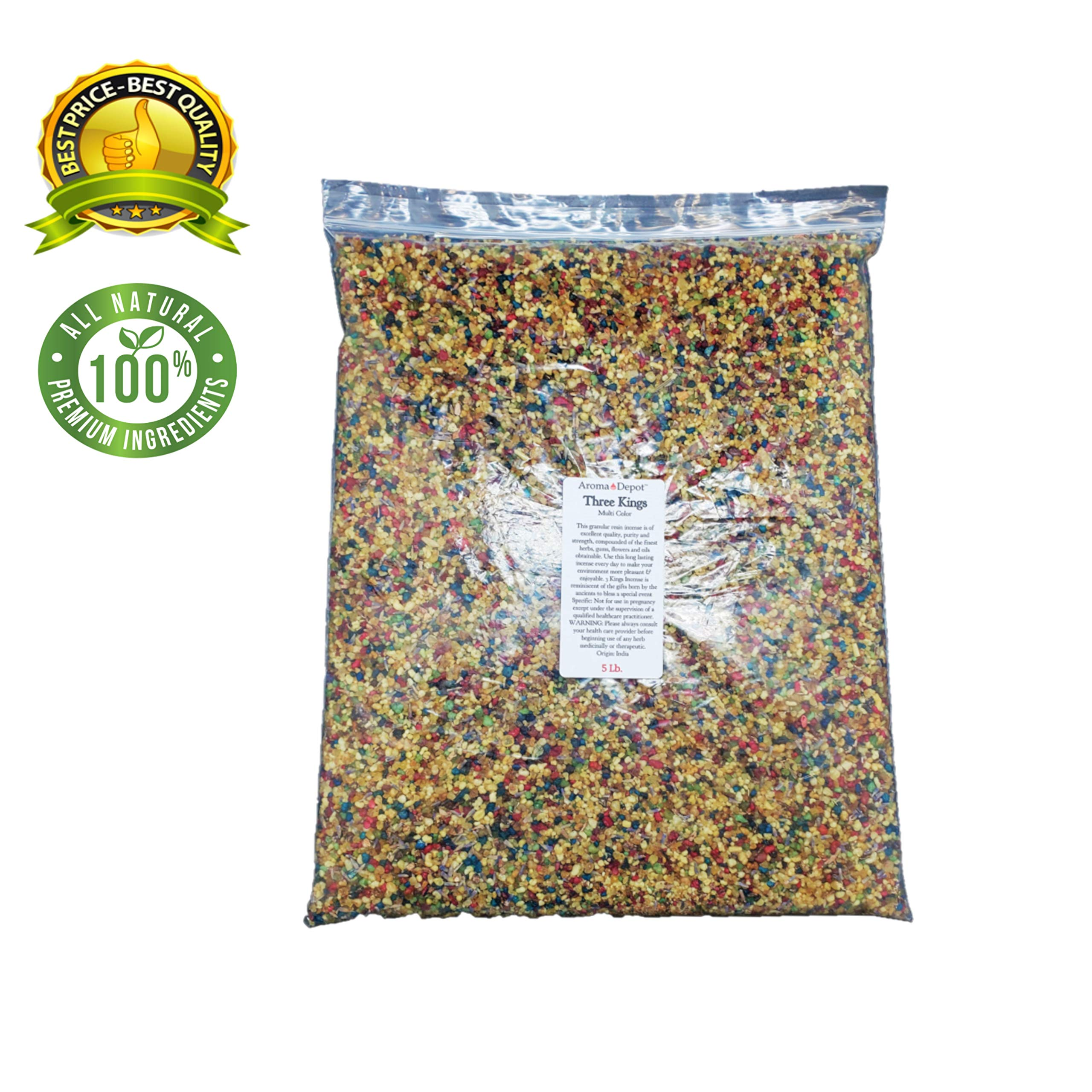 Aroma Depot 5 lb / 80 oz Three Kings Resin Incense Granular Gum (Tres Reyes Magos) (Trois Mages) Meditation, Spiritual, Church, Relaxation and Prayer Pure - No Additives Added by Aroma Depot