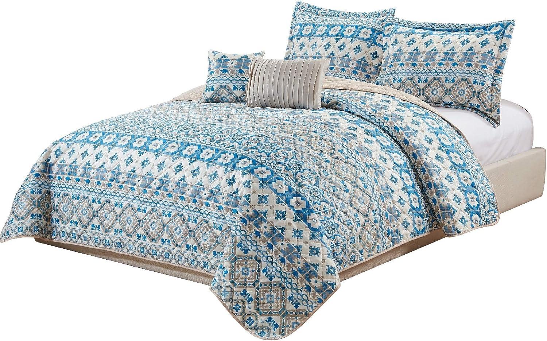 BEAUTIFUL MODERN BLUE AQUA TEAL YELLOW GREY EXOTIC MEDALLION BOHEMIAN QUILT SET