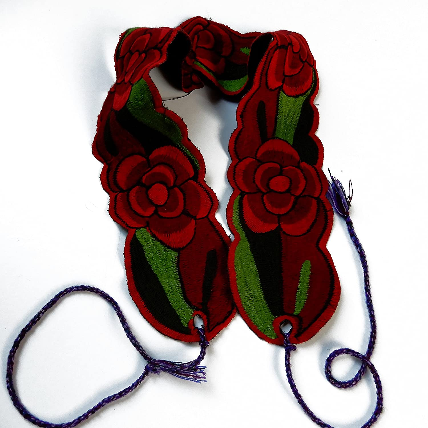 Traditional Handmade Colorful Dark Red Floral Mexican Belt Sash Tie - DeluxeAdultCostumes.com