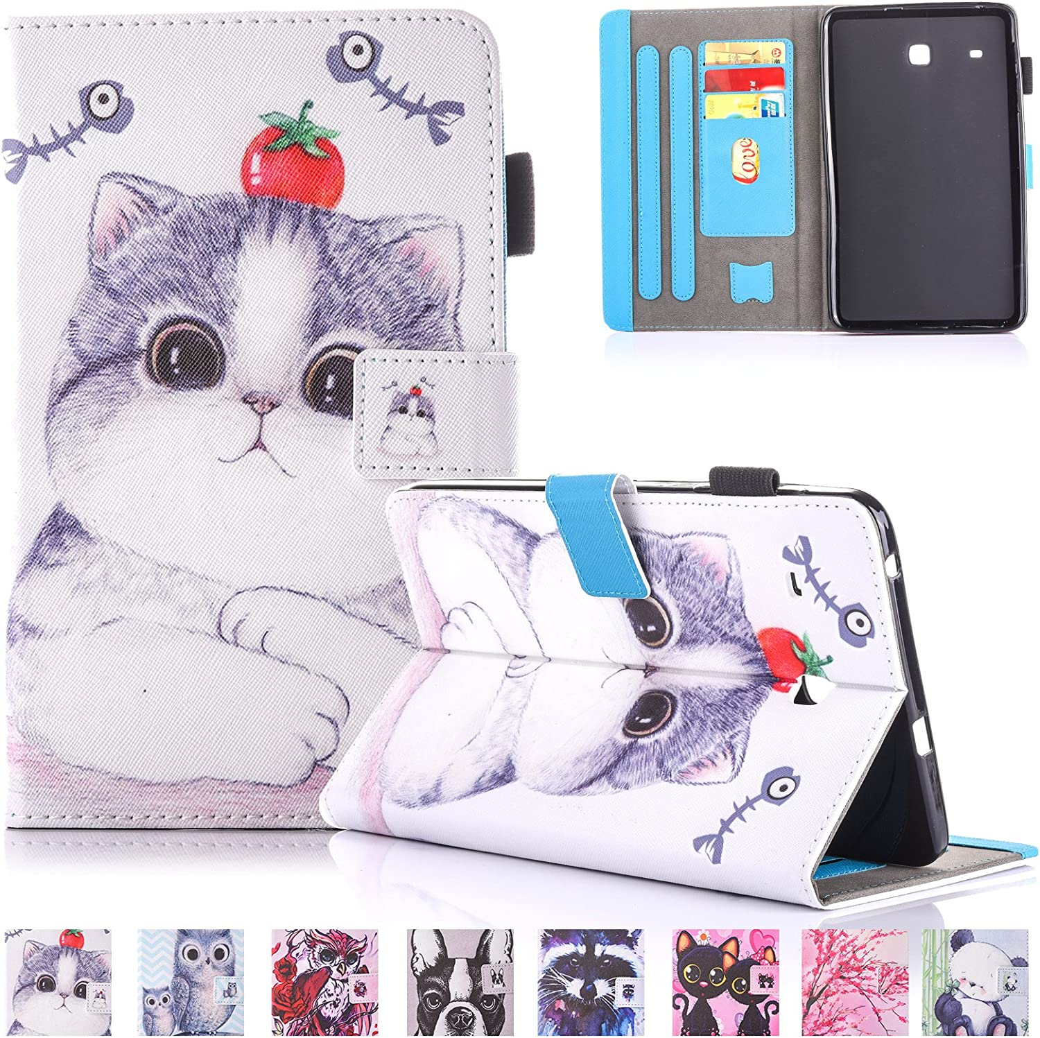 Ucovers Case for Samsung Galaxy Tab E 8.0 inch 2016 Tablet (SM-T375 & T377 & T378) with Pencil Holder Card Pockets PU Leather Magnetic Wallet Folio Stand Soft TPU Back Shockproof Shell, Tomato Cat