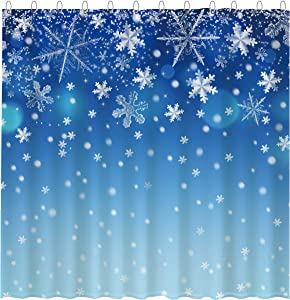 "Funnytree Blue Winter Snowflake Shower Curtain Set with 12 Hooks Snow Bokeh Sequin Sparkle Merry Xmas Decor Bathroom Bathtubs Decor Easy Care Waterproof Washable Durable Polyester Fabric 72""x72"""