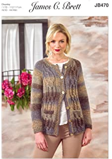 0dc6f0f32b40a James Brett Womens Knitting Pattern Ladies Tuscany Chunky Cable Knit Jacket  (JB470)