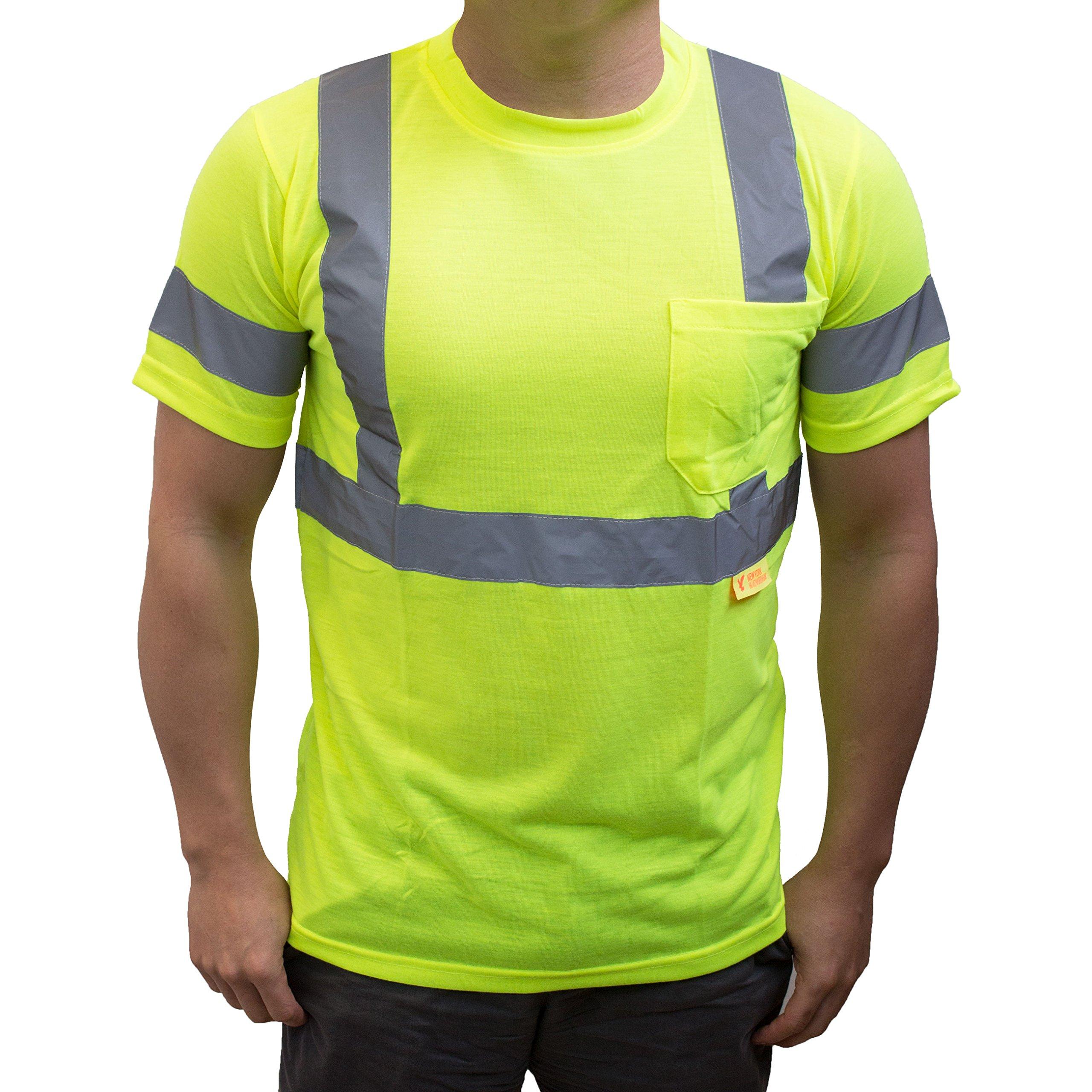 NY Hi-Viz Workwear 9082 Class 3 High Vis Reflective Short Sleeve ANSI Safety Shirt (Medium, Lime)