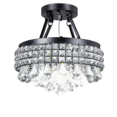 Top Lighting 4-light Antique Black Round Metal Shade Crystal ...