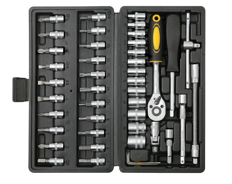 Bohell SH46–Mallette avec jeu de clés de douilles ¼ et embout de tournevis, 45 pièces 45 pièces