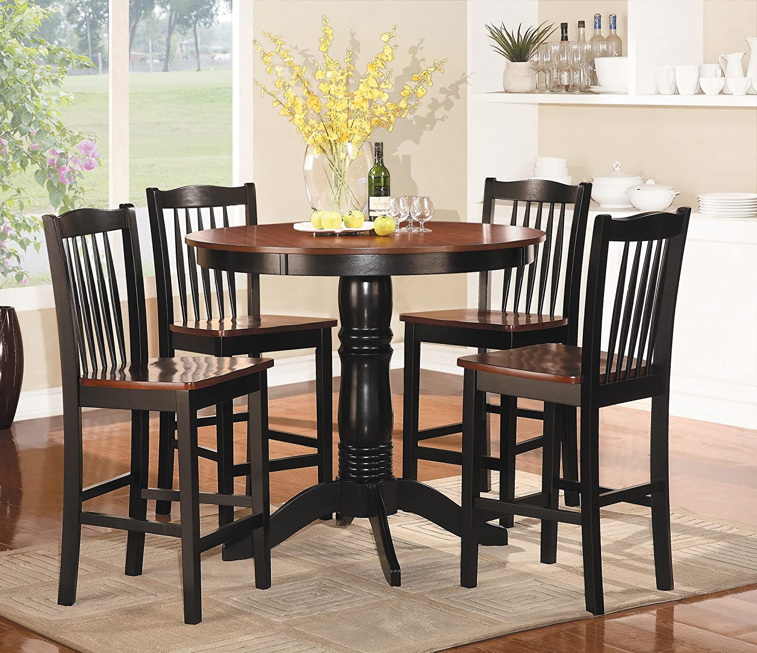 Amazon.com: Homelegance 2458-36 5-Piece Round Counter Height Dining ...